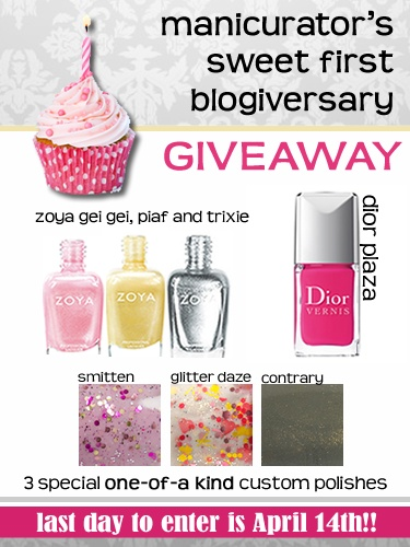 manicurator: Manicurator 1 year Blogiversary Giveaway!