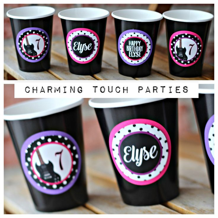 Girl Pop Star / Music/ rock star birthday decor / party cups. Set of 20, fully assembled and customizable.  Black/pink/purple. by CharmingTouchParties on Etsy