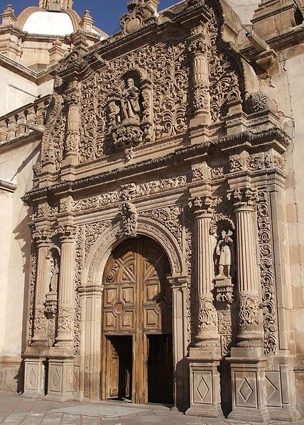 south doors and facade of the Cathedral in Chihuahua, Mexico