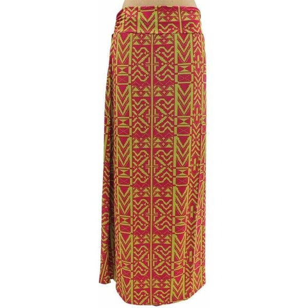 Hot Pink & Yellow Aztec Print Long Maxi Skirt ($23) ❤ liked on Polyvore featuring skirts, hot pink, foldover maxi skirt, hot pink maxi skirt, yellow maxi skirt, maxi skirt and sparkle skirts