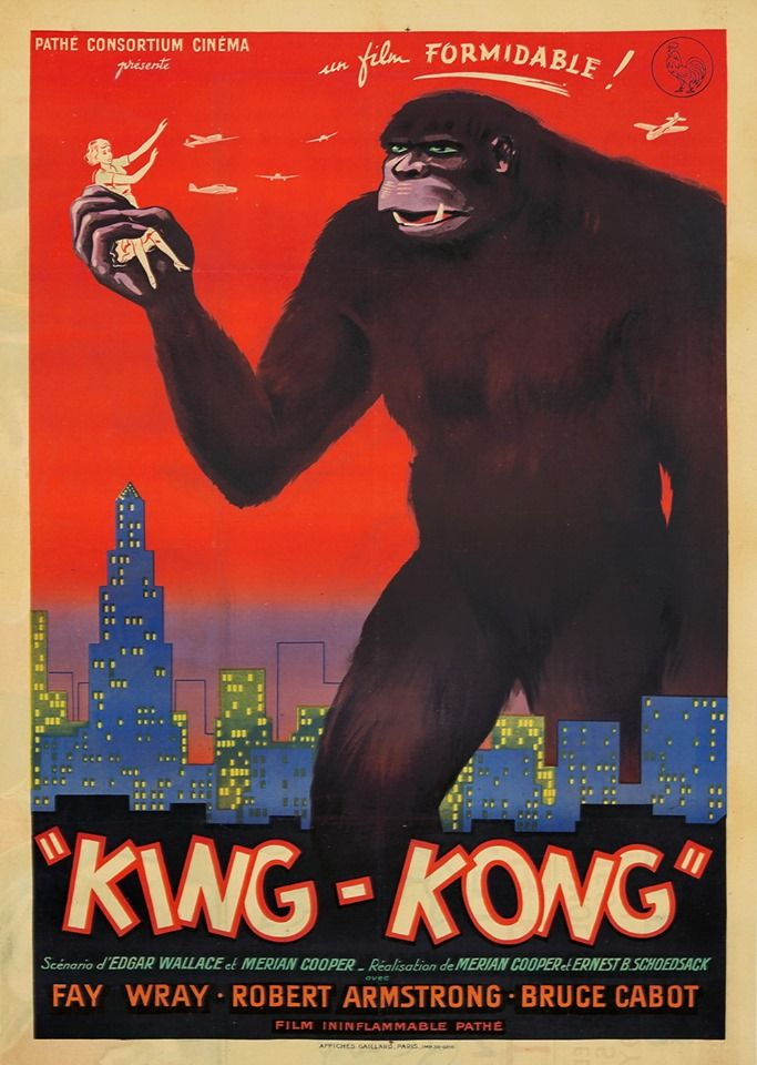 King Kong 1942 French Re Release Poster Art By Marcel Bloch Pathe Poster Designer Kingkong Marcelbloch Pathe King Kong King Kong 1933 Vintage Posters