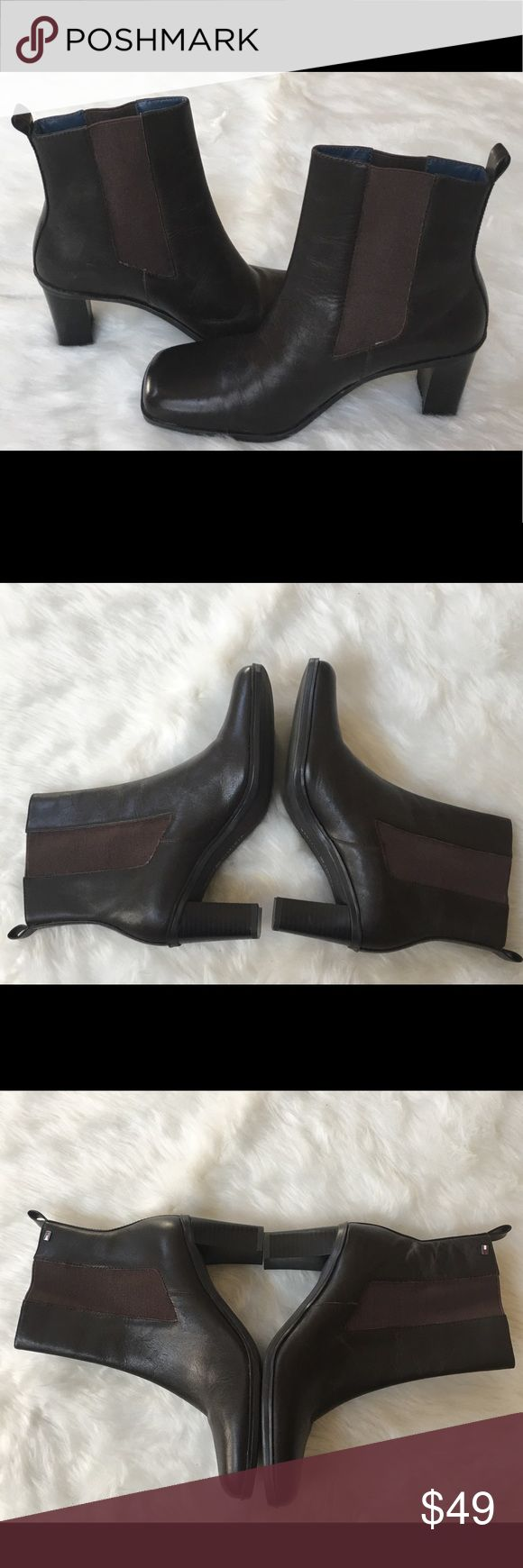 🆕Ladies Chocolate Tommy Boots Brand new never worn | Leather upper | Block heel | Please pay attention to the photos Tommy Hilfiger Shoes Ankle Boots & Booties