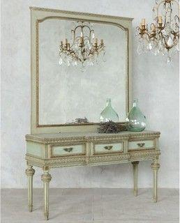 Attractive Louis XVI style Vintage Vanity in Sea Green - mediterranean - makeup mirrors - los angeles - by The Bella Cottage