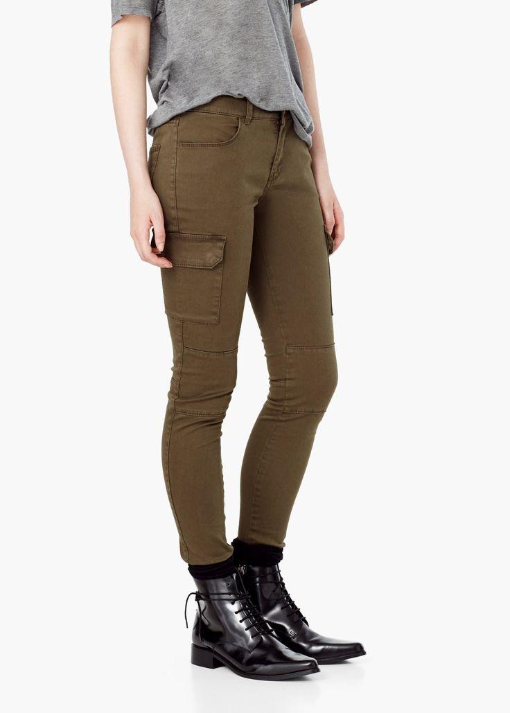 Pantaloni cargo din bumbac - Pantaloni pentru Femei | MANGO