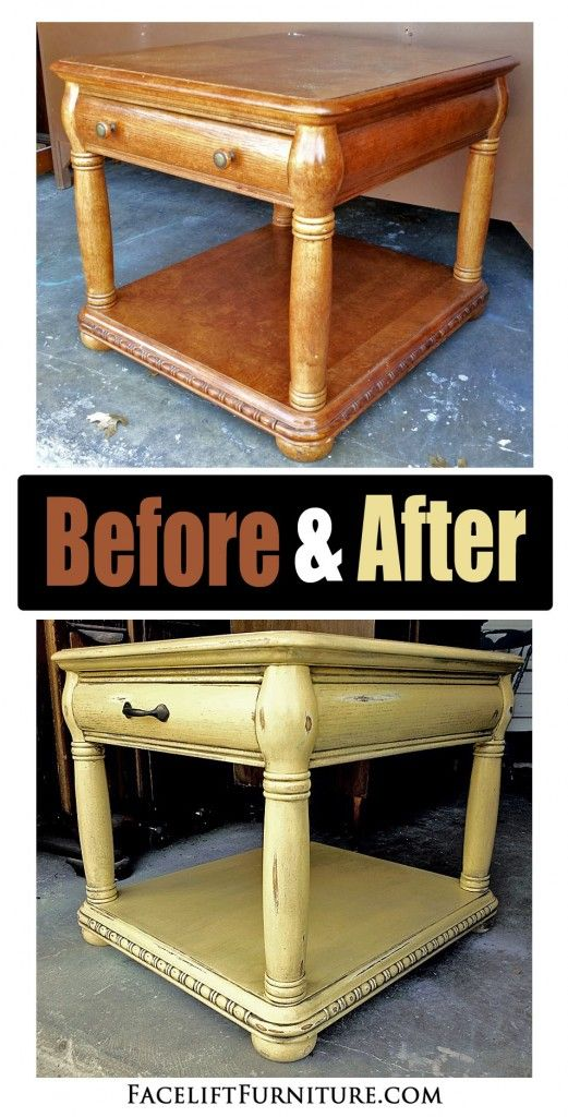 Caramel yellow end table ~ Before & After. Find more painted, glazed & distressed inspiration on our Pinterest boards, or on the Facelift Furniture DIY blog.