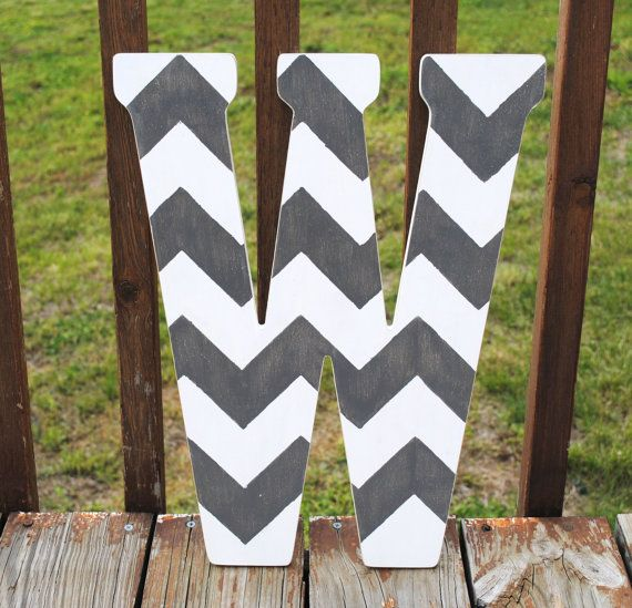 "Rustic Custom Distressed Grey Chevron Home Decor 18"" Decorative Pottery Barn Style Chevron Letters, Wedding Gift, Bridesmaid Gift"