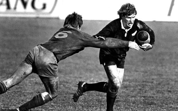 Stu Wilson in action against the Springboks during the South Africa tour of New Zealand 1981.