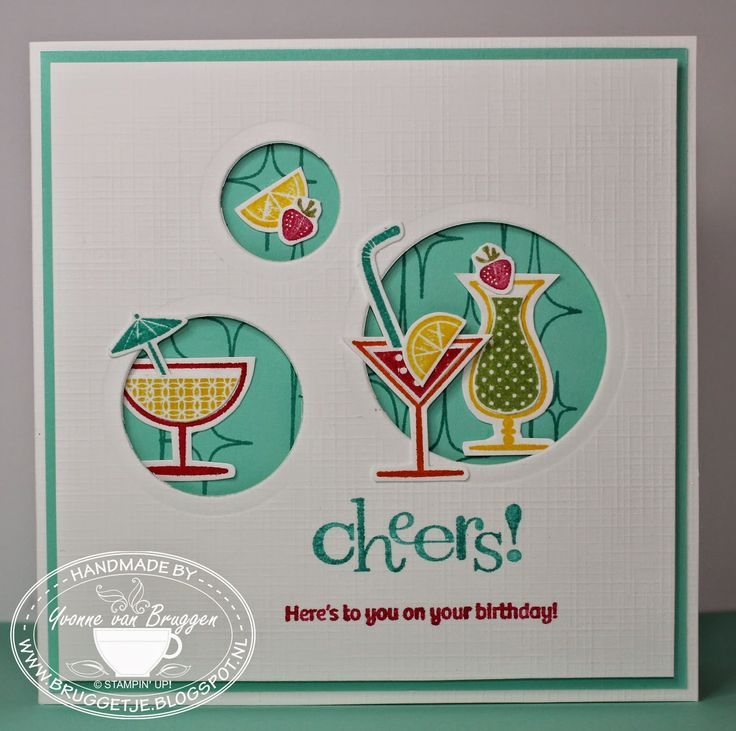 Yvonne's Stampin' and Scrap Blog: Stampin' Up! Card Happy Hour.... LOVE the color combo!!!! (Pin#1: Beverages... Pin+: Peek-A-Boo).