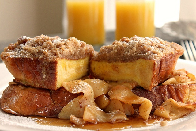 French Toast with Apples and Coffee Cake Crumble