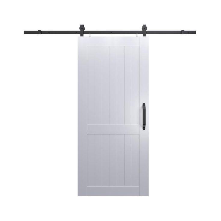 Pinecroft 36 in. x 84 in. Millbrooke White H Style PVC Vinyl Barn Door with Sliding Door Hardware Kit
