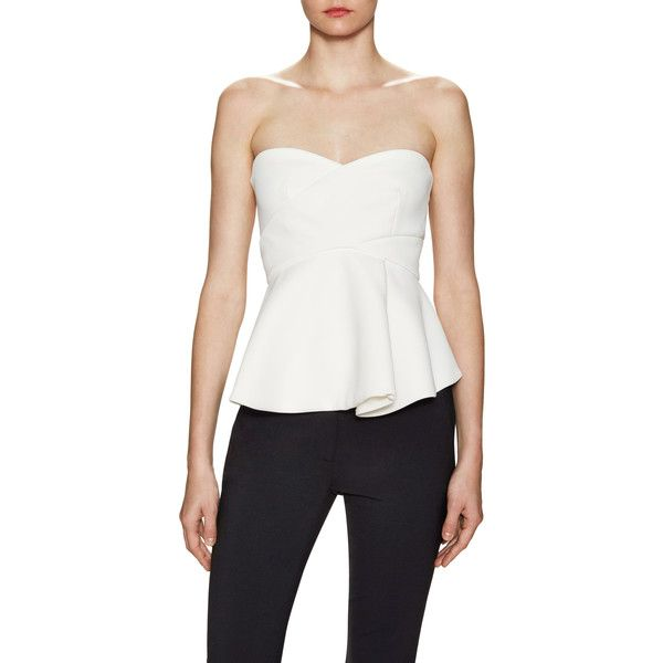 Derek Lam 10 Crosby Women's Metallic Band Cut Out Corset Blouse -... ($189) ❤ liked on Polyvore featuring tops, blouses, white eyelet blouse, bandeau tops, cut out top, ruched tops and cream blouse