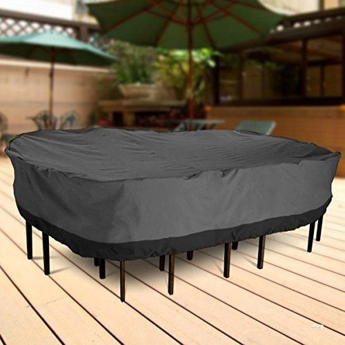"NEH Outdoor Patio Furniture Table and Chairs Cover 108"" Length Dark Grey with Black Hem - 100% Waterproof Winter Storage Cover Deck Patio Backyard Veranda Porch Table Covers"