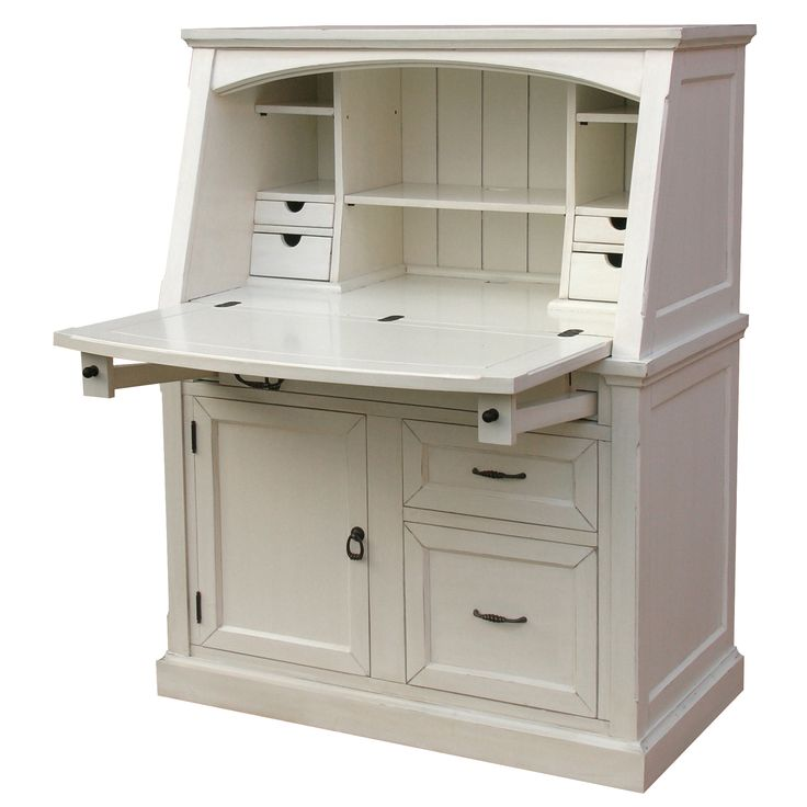 Coastal Secretary Desk - This coastal style furniture piece has electrical cut-outs sufficient ventilation and cable management.