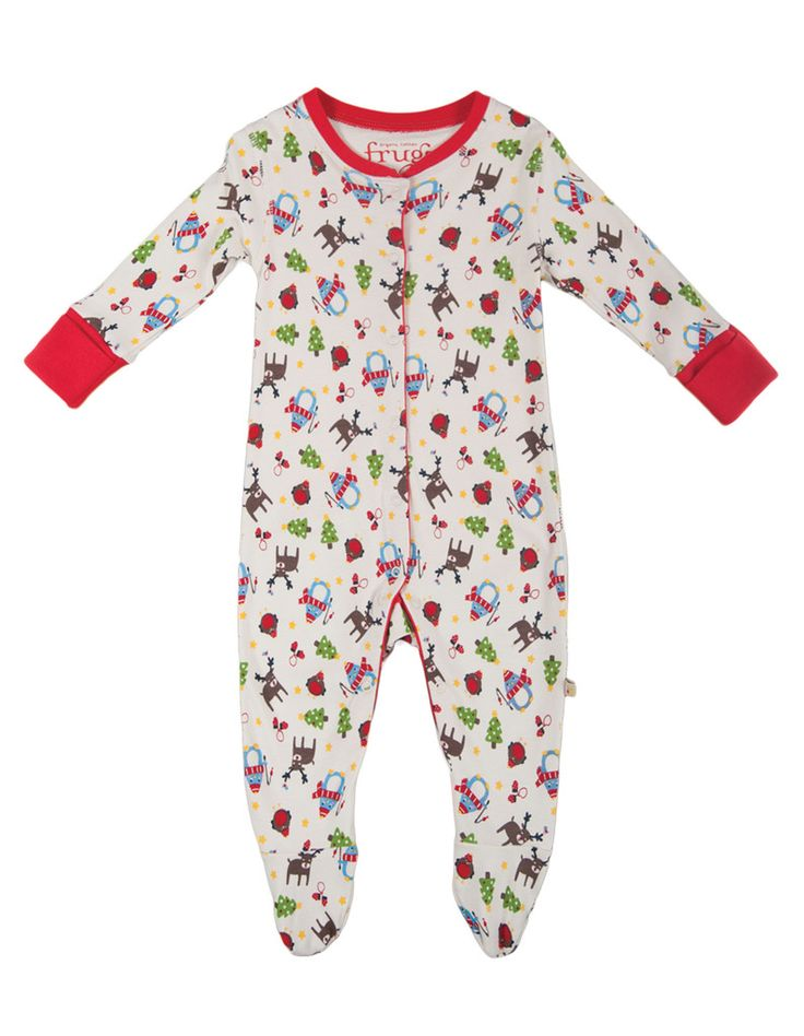Frugi Baby Clothes Lovely Babygrow, Christmas Friends