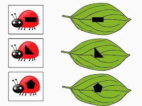Τα παιδιά καλούνται να βάλουν τη σωστή πασχαλίτσα στο σωστό φύλλο (ίδιο σχήμα).                Κόβουμε τις πασχαλίτσες στη μέση και τα π...