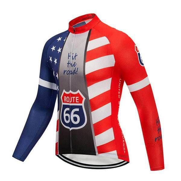 USA Route 66 Long Sleeve Cycling Jersey