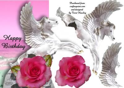 A very pretty card with with a winged pegasus and a beautiful rose, good for anyone that likes horse, fantasy,or roses.