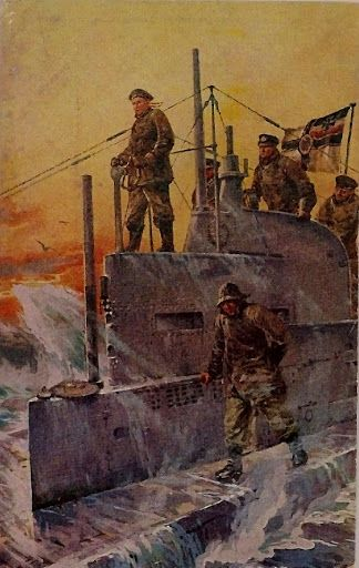 """U-boot, Willy Stöwer """"Our war flag"""" BFD"""
