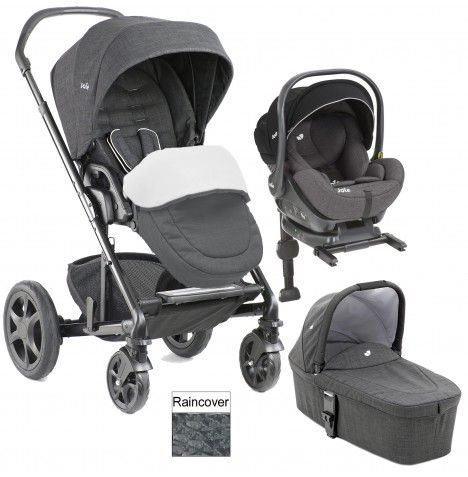 Joie Chrome DLX (i-Level) Travel System With Carrycot (inc Footmuff & ISOFIX Base) - Pavement | Buy at Online4baby