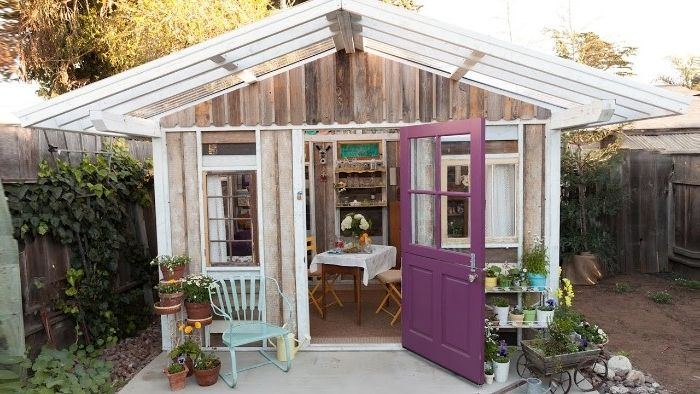 Purple Door Attached To A Small House With Several Windows She Shed Images A Glass Roof With White Wooden Frames In 2020 Backyard Getaway Shed Decor She Sheds