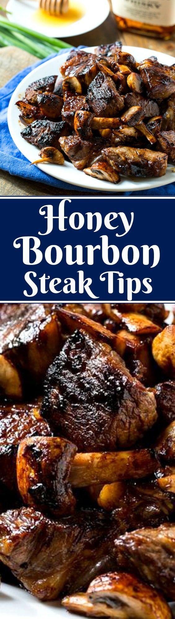 Honey Bourbon Steak Tips (sparkling apple cider instead of bourbon)