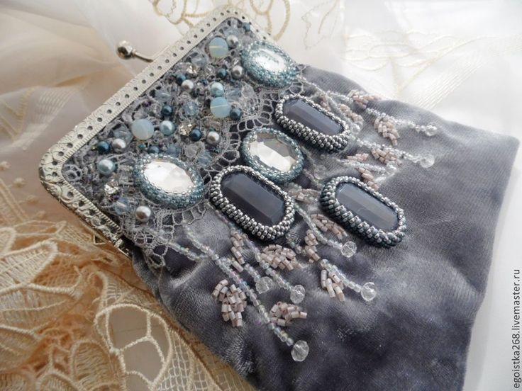 """Купить сумочка вышитая """"Малышка Инфанта"""" - серый, абстрактный, вечерняя сумочка, бархатная сумочка"""