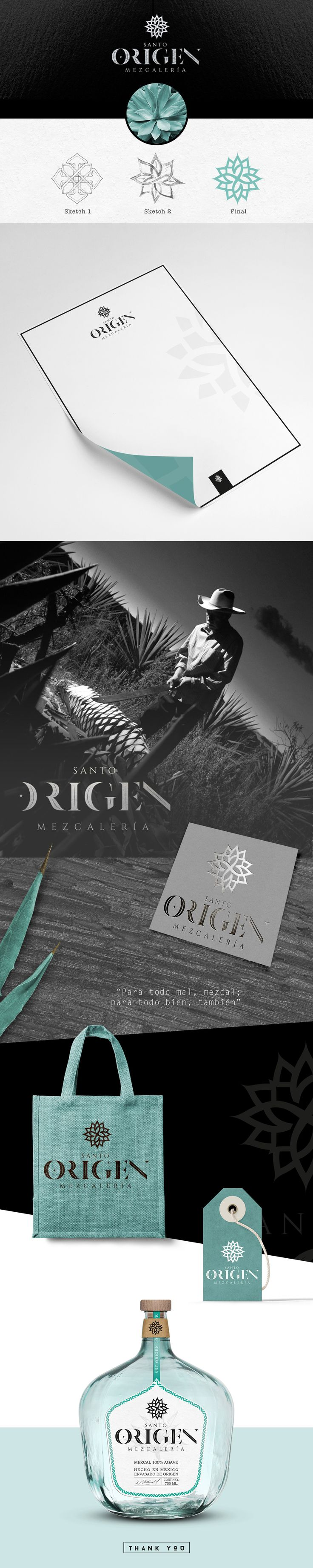 Graphic design, branding and packaging for MEZCAL SANTO ORIGEN on Behance by Zure Studio, Mexico. How beautiful is this packaging? PD