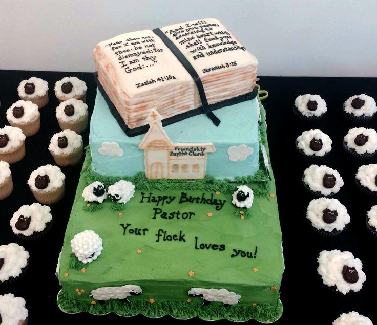 Pastor's Birthday Cake. Your flock loves you sheep. Bible Cake. All Buttercream, Fondant Sheep.