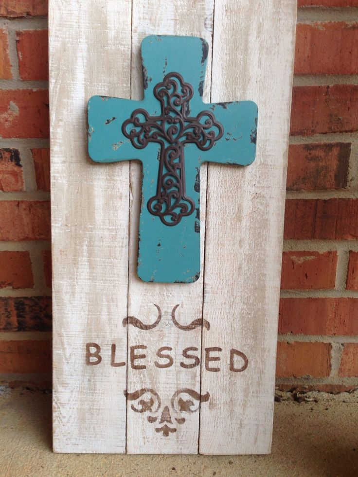 Blessed! Cross on pallet wood with stencil design