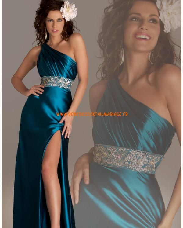 Belle robe glamour asymétrique cyan foncé cristaux satin stretch robe de soirée 2013