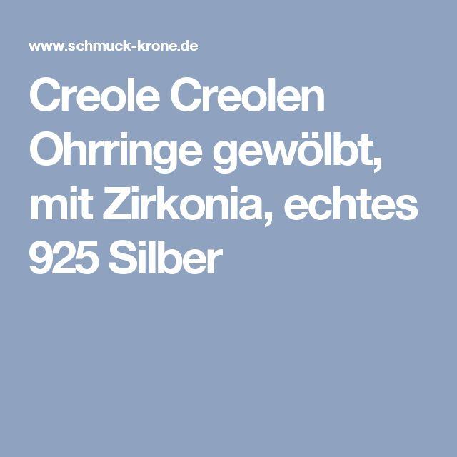Creole Creolen Ohrringe gewölbt, mit Zirkonia, echtes 925 Silber
