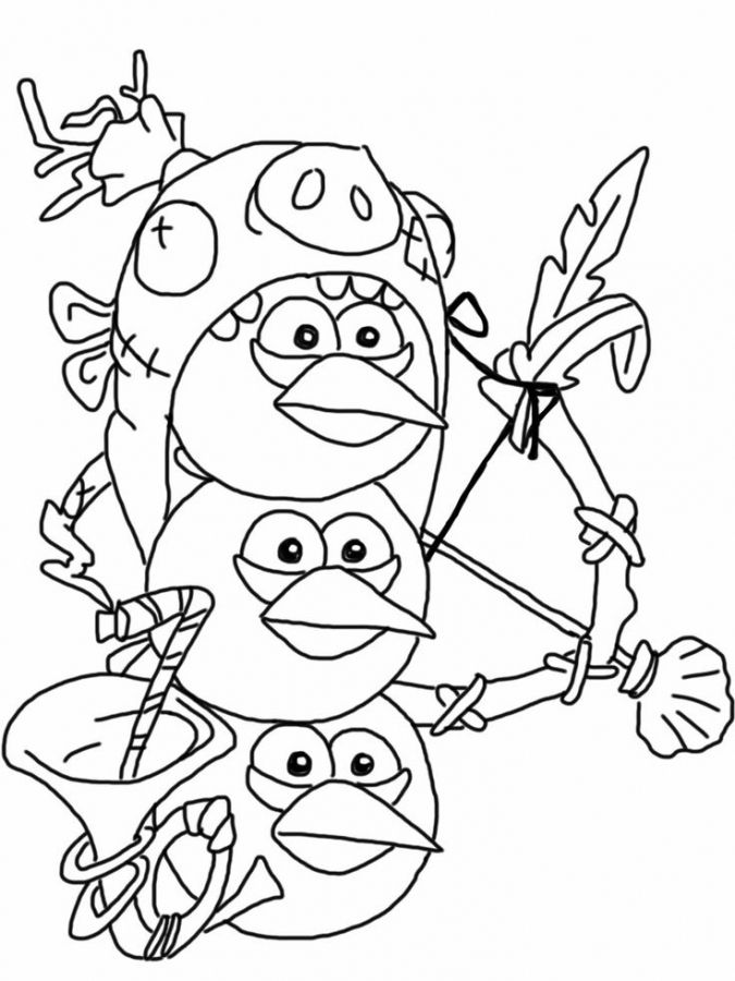 Cute little blue birds from Angry Birds coloring pages printable