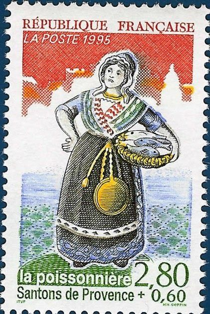 """This week some lovely postage stamps with the """"Santons"""" of the Provence. Santons are clay figurines that depict the colorful people, tradi..."""