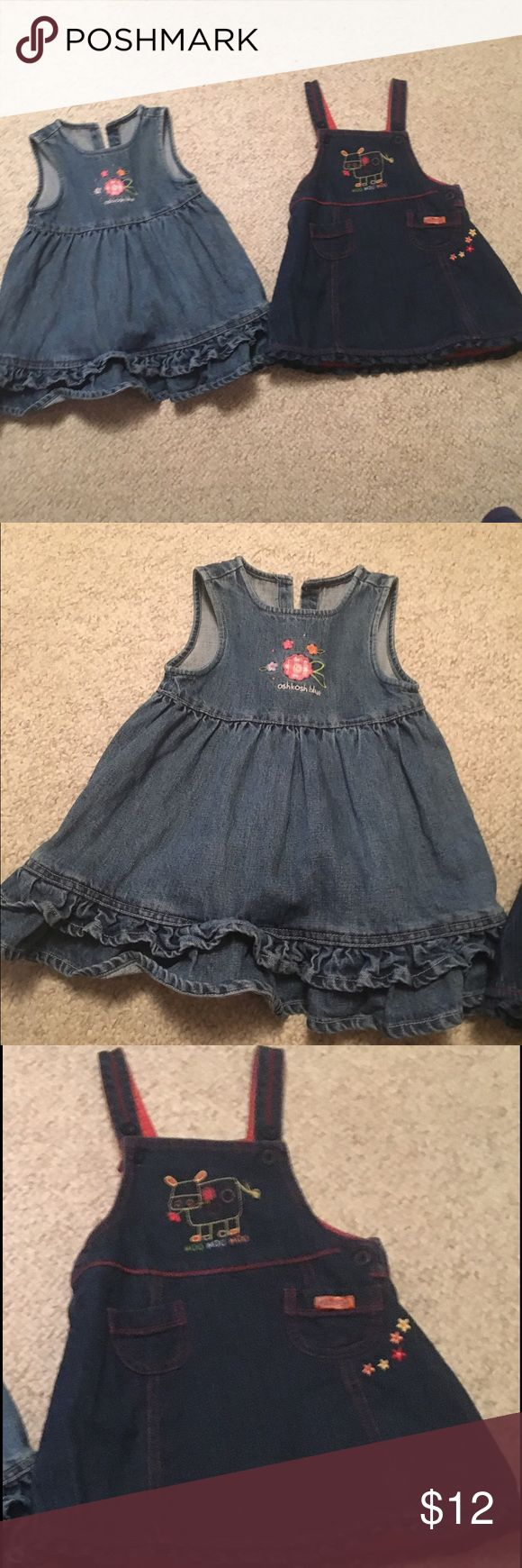2 dungaree baby girl dresses 24 months old 2 dungaree baby girl dresses 24 months old in nice condition bundle # 314 one of the dresses is by Oshkosh Osh Kosh Dresses Casual
