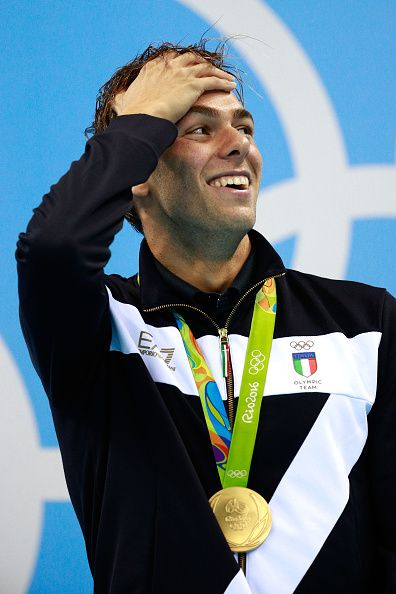 Gold medalist Gregorio Paltrinieri of Italy poses on the podium during the medal…