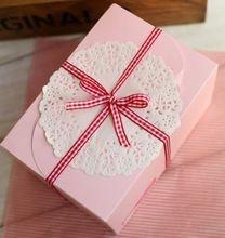 Envío gratis tamaño 15 * 10 * 8 cm panadería torta caja de embalaje de papel de color rosa boda caja de la decoración 10 unids/lote(China (Mainland))