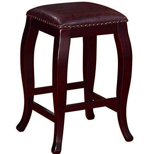 Curved Wooden Stool With Tufted Seat Upholstered Padded Leather