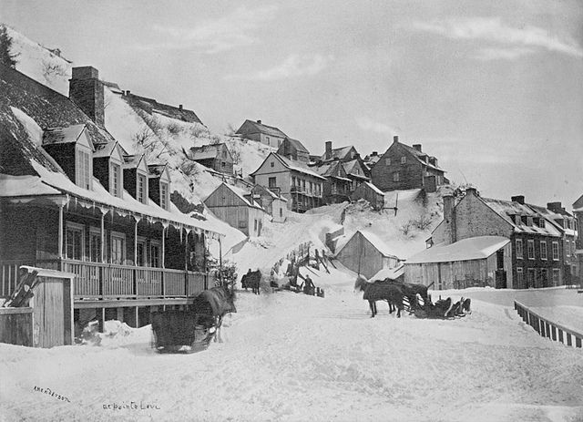 Lévis, Quebec during the winter, c. 1870 (image by Alexander Henderson). #vintage #Canada #Victorian