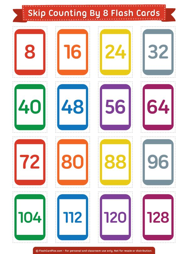 Free printable skip counting by 8 flash cards. Download them in PDF format at http://flashcardfox.com/download/skip-counting-by-8-flash-cards/