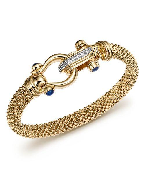 5f1cdd7b957bd 14K Yellow Gold Beaded Mesh Bracelet with Diamond Clasp - 100 ...