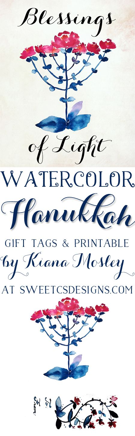 Free Watercolor Hanukkah Blessings of Light Printable and Gift tags- these are a gorgeous gift!