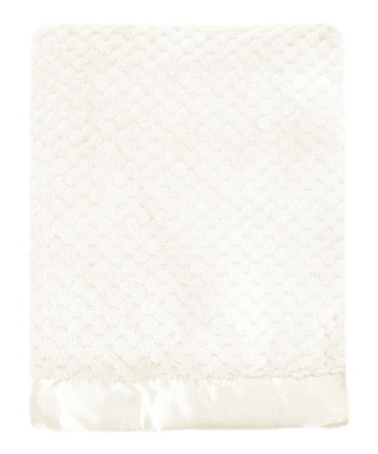 White Mon Lapin Popcorn Plush Blanket: Baby Blankets, Plush Blankets