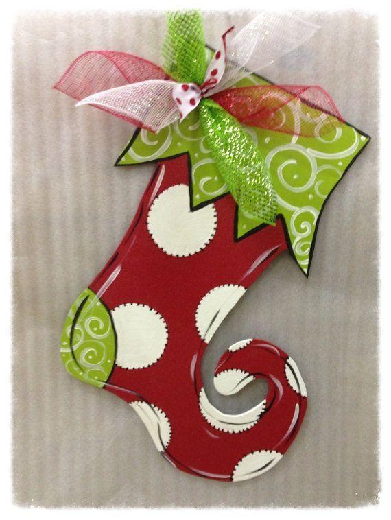 Stocking door hanger,Christmas door hanger,Christmas door decor ...