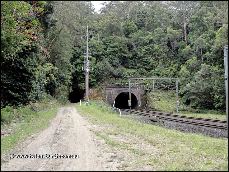 Lilyvale Tunnels, old and current.  More information: http://www.helensburgh.com.au/lilyvale-railway-tunnels/