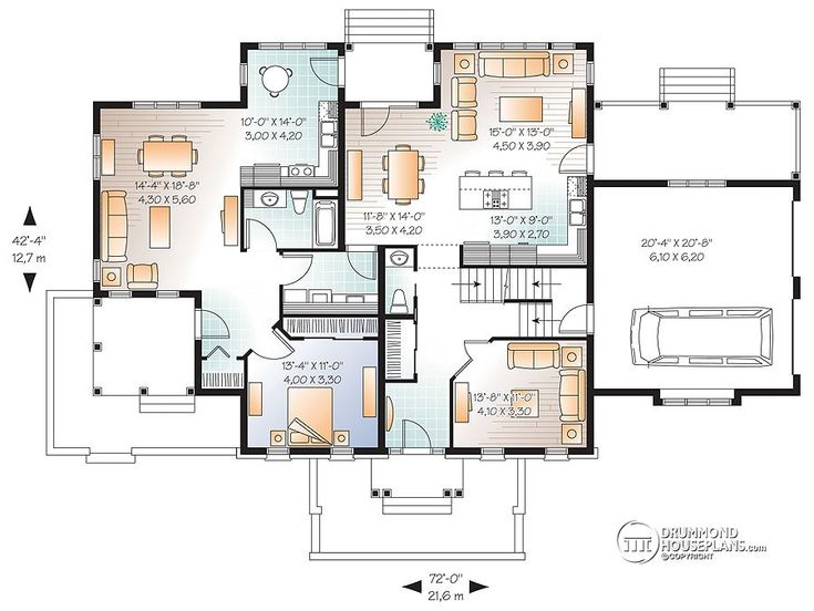 superior extended family house plans #3: First Floor Plan of Traditional House Plan 76171