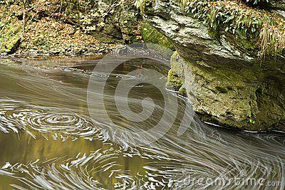 Eddy water swirl in river along rocky banks.