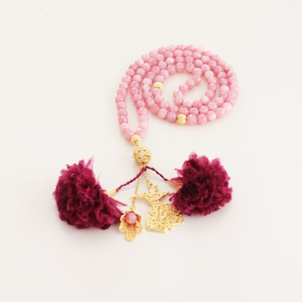 Pink Jade Stone Turkish Islamic 99 Prayer Beads, Tesbih, Tasbih, Misbaha, Worry Beads, Fabric Flowers, Whirling Dervish Charm by Vanilleecom on Etsy