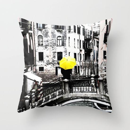 Throw Pillow - Yellow Umbrella in Venice #photo #venice #homedecor #society6