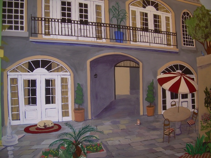 Navy Exchange Retail Store French Quarter Courtyard Mural With Nex Hawaii Furniture  Store