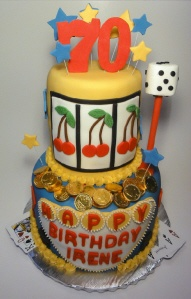 Slot Machine Cake for birthday celebration.  Chocolate on top with Salted Caramel on the bottom.